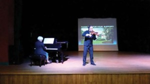 """The Lewisburg Rotarians held their weekly meeting at Carnegie Hall this week. They were serenaded by Carnegie Hall executive director Susan Adkins and violinist Russell Fallstad playing the classical piece """"Meditation."""""""