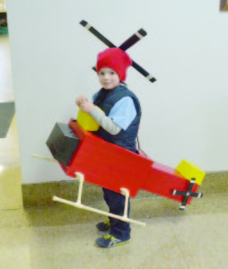 Andrew Blake, 5, of Lewisburg, shows off his helicopter costume at the Courthouse Friday afternoon, Oct. 30. Andrew is the son of Ryan and Heather Blake. Ryan gets most of the credit for construction, with assistance from Heather Blake. Photo by Mark Robinson