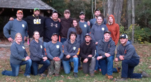 Dabney S Lancaster Community College Timbersports Team competed successfully in the 2015 John G. Palmer Intercollegiate Woodsman's Team Competition hosted by Haywood Community College at the Pisgah National Forest near Clyde, NC, Oct. 10, bringing home not only the winning trophy but also a brand new Stihl chain saw. First Row: students Ali Oliver (left), Callie Hubbard, Brent Maccentelli, Jon Vance, Dan Ricotta, Grayson Coleman and Mitchell Hullett. Back Row: Scott Reigel (left), Joe Thacker, Andrew Webster, David Smith, Sadie Floyd, Nathan Burdette, Trevor Quantz, Megan Tomlin and Hannah Dunaway. Thacker is interim head of the Forest Management Technology Program at DSLCC; Reigel is program lead.