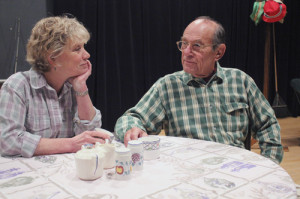 """Gretchen Corbett* and Stuart Margolin* rehearsing for GVT's upcoming production of """"On Golden Pond"""" (Photo courtesy  Greenbrier Valley Theatre) * denotes members of Actors' Equity Association"""