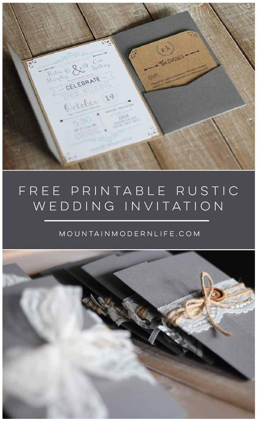 FREE Printable Rustic Wedding Invitation | MountainModernLife.com