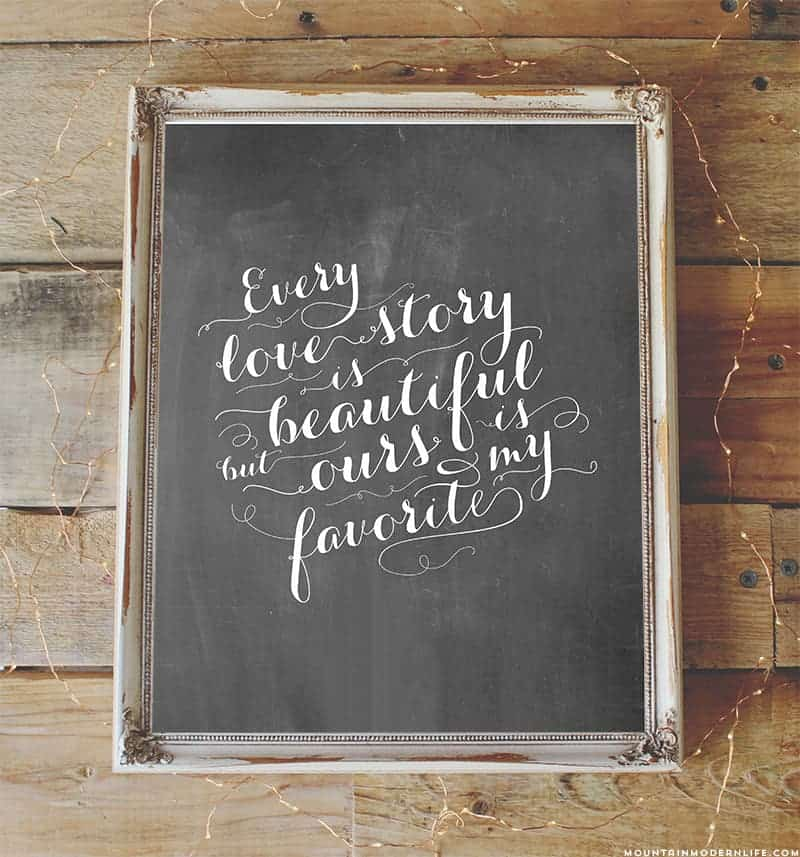 Download FREE Chalkboard Love Quote Printable | Mountain Modern Life