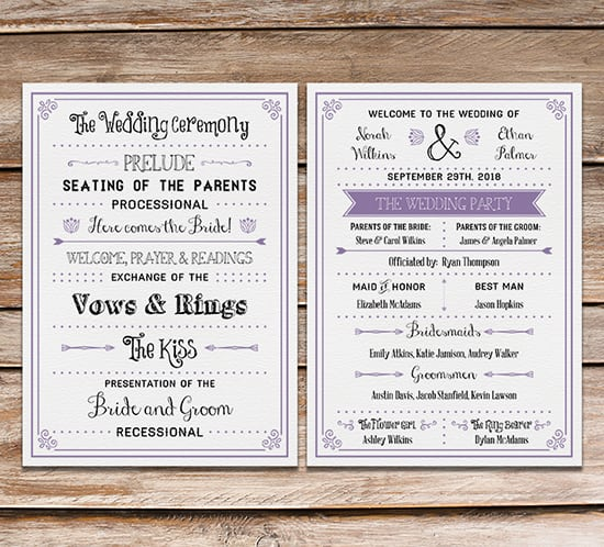 free printable vintage inspired diy wedding program fan mountainmodernlife.com