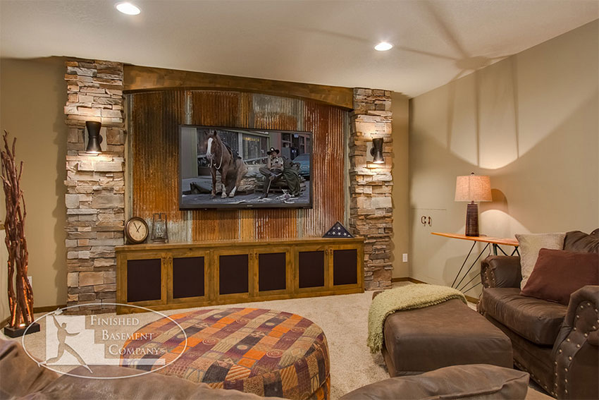 Rustic Basement Design with Reclaimed Corrugated Metal   Finished Basement Company
