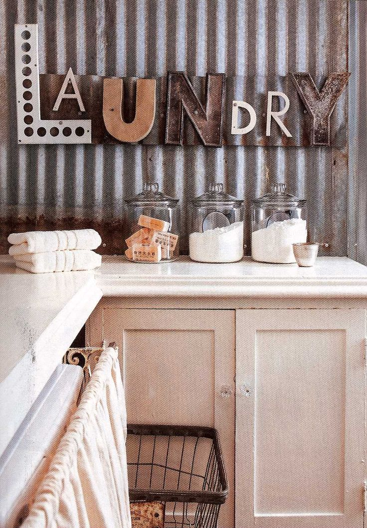 Corrugated metal in interior design - Laundry room wall ideas ...