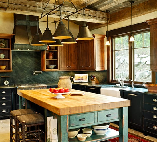mountain living rustic green kitchen Jordan Design Studios