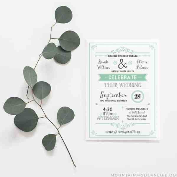 Printable DIY Wedding Invitation