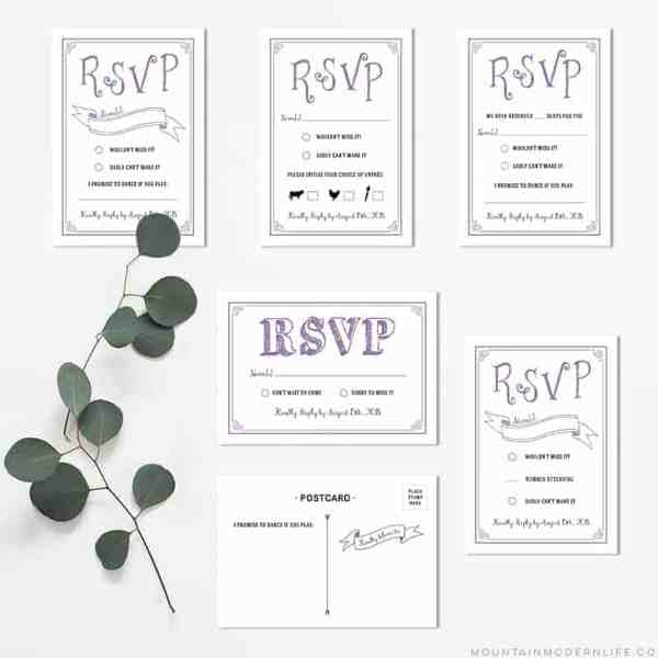 Printable Lavender DIY Wedding RSVP Cards | MountainModernLife.com