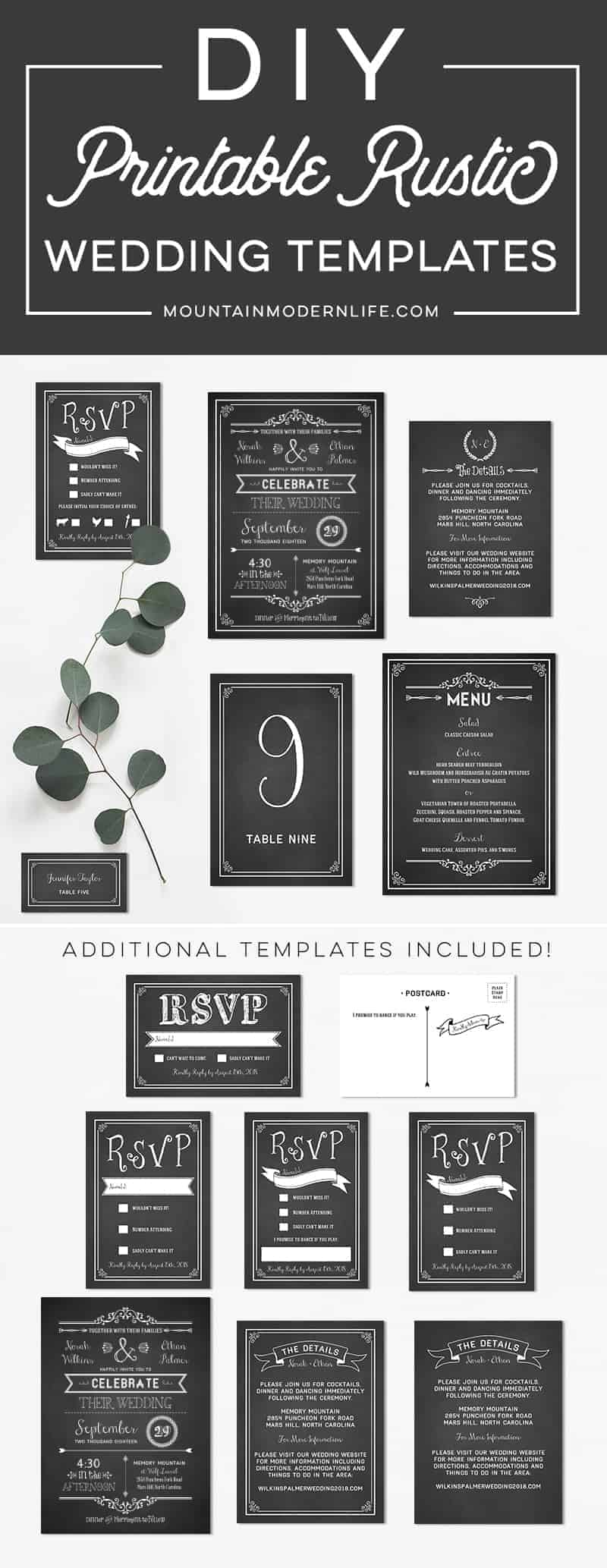 Printable DIY Wedding Invitation Set | MountainModernLife.com