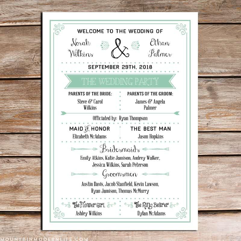Printable DIY Wedding Program Fan  MountainModernLifecom