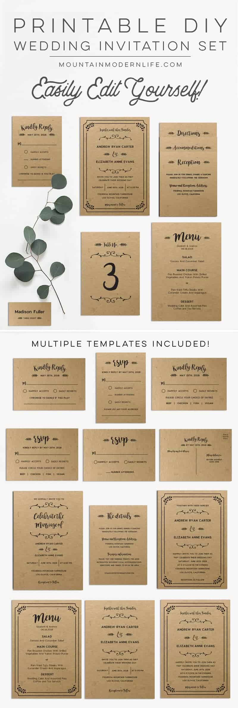Planning a rustic-inspired wedding? Save money by customizing this printable DIY wedding invitation set yourself! MountainModernLife.com