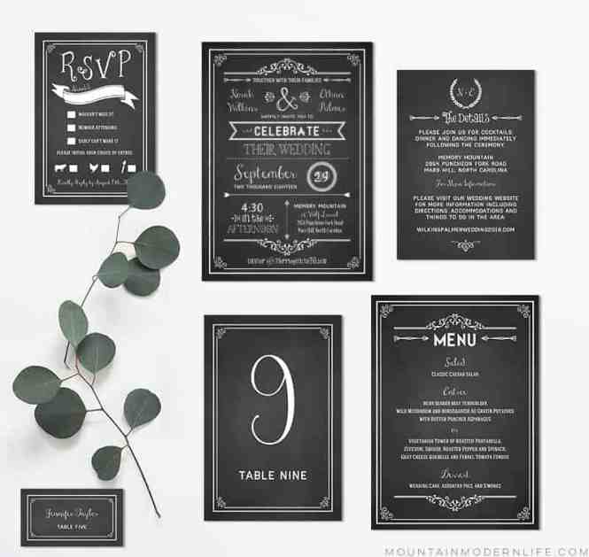 Chalkboard Wedding Invitation Suite Clockwise From Top Left Insert Card Save