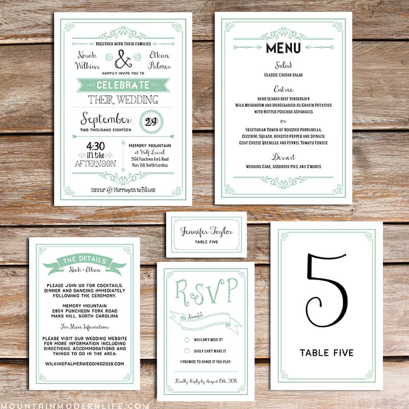 Printable Mint Diy Wedding Invitation Set