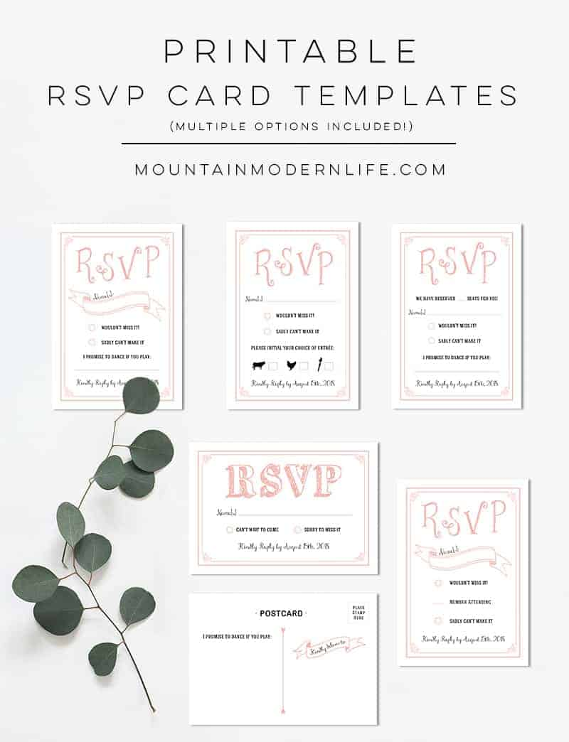 Printable Rustic RSVP Card Templates | MountainModernLife.com