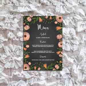 DIY Whimsical Floral Chalkboard Wedding Menu Sample