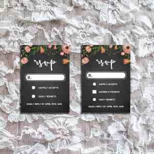 DIY Whimsical Floral Chalkboard RSVP Card Templates