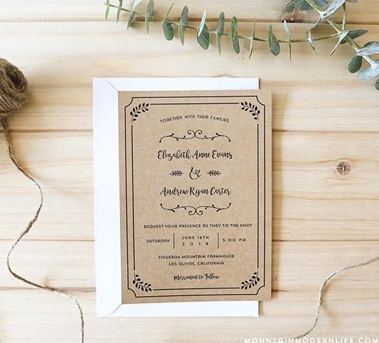 FREE Wedding Invitation Template | MountainModernLife.com