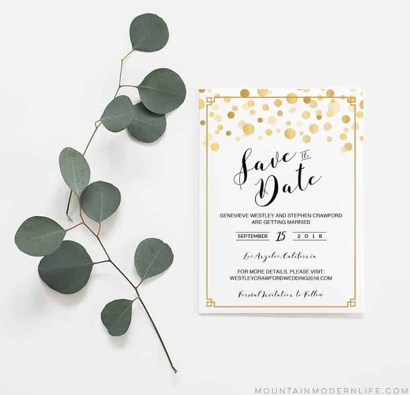 Printable Modern Gold Save the Date