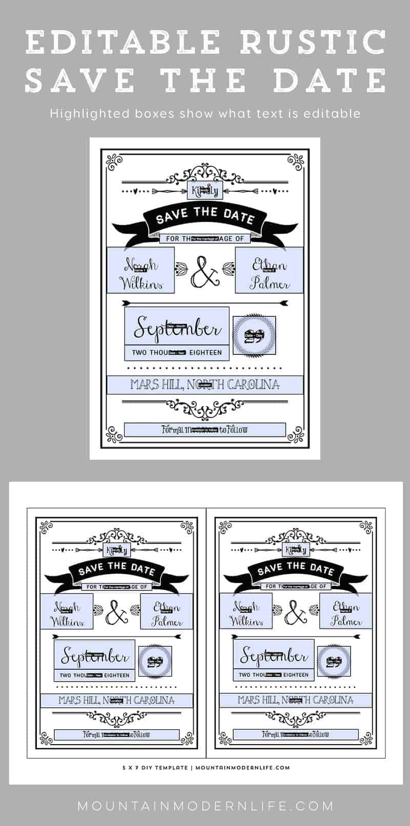 Printable DIY Save the Date   MountainModernLife.com