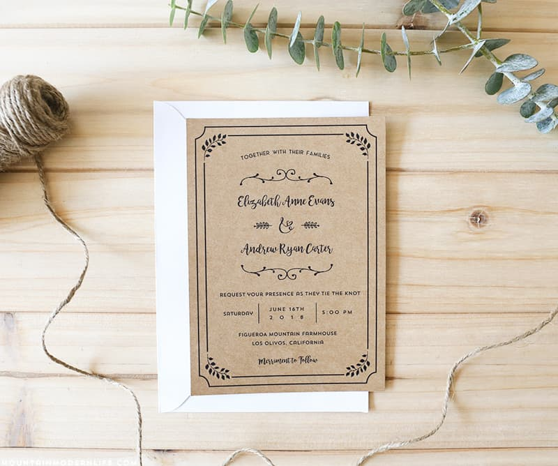 Planning A Rustic Wedding This Free Printable Invitation Template Add Your Personalized