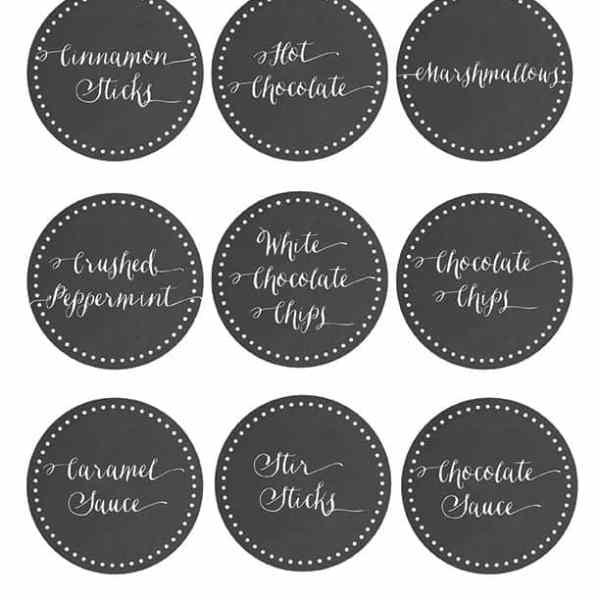 Hot Chocolate Bar Labels