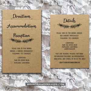 Printable Boho DIY Invitation Set - Insert Cards