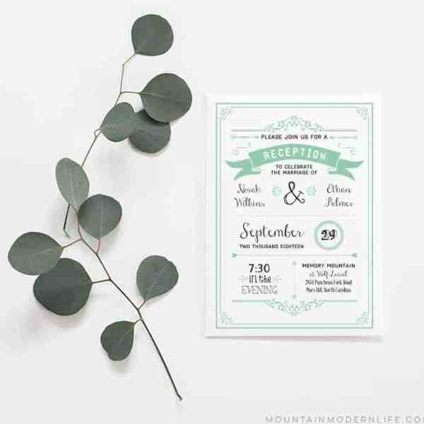 Printable Wedding Reception Only Invitation | MountainModernLife.com