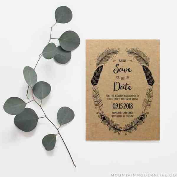 Rustic Boho Save the Date - Sample Printed on Kraft Paper