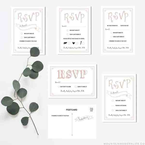 Printable Rustic RSVP Card Templates   MountainModernLife.com