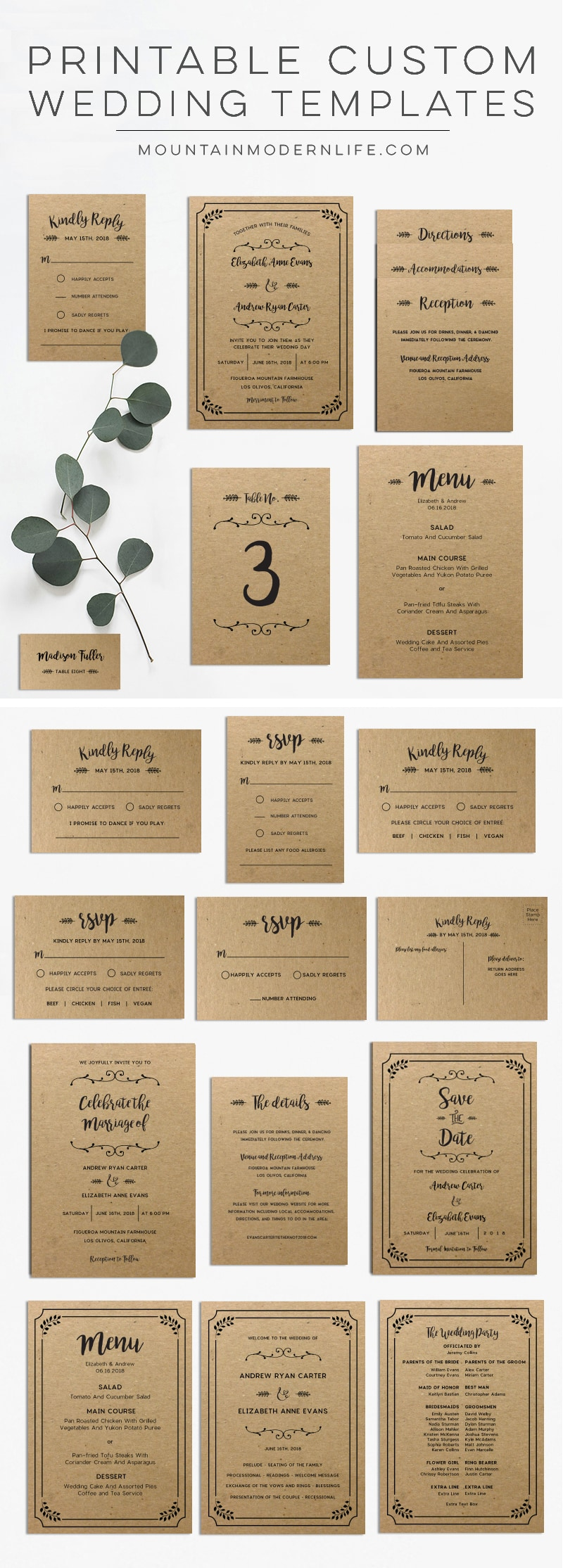 Custom Printable Wedding Invitation Templates | MountainModernLife.com