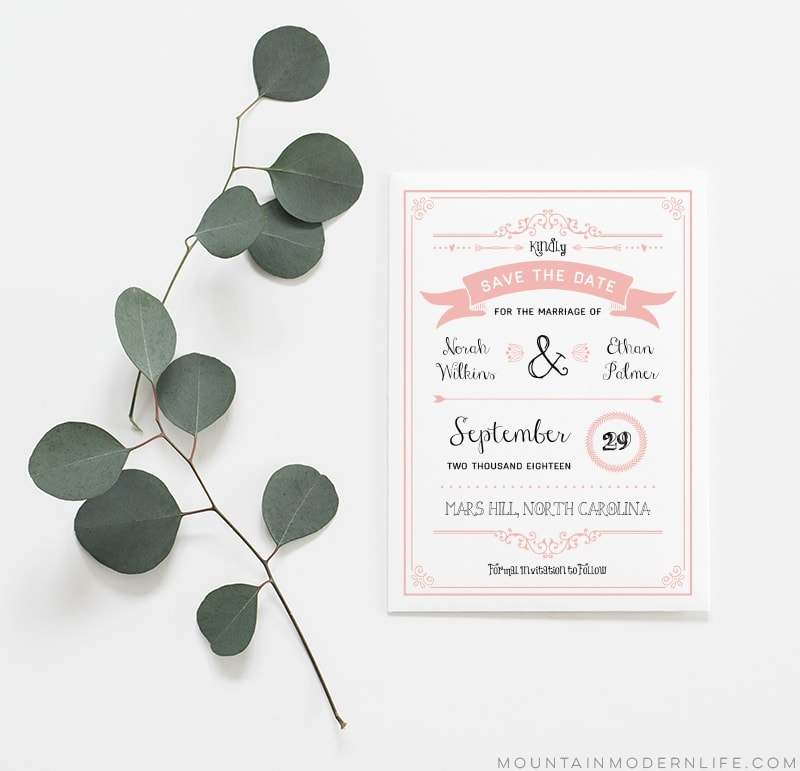 Printable Rustic Save the Date
