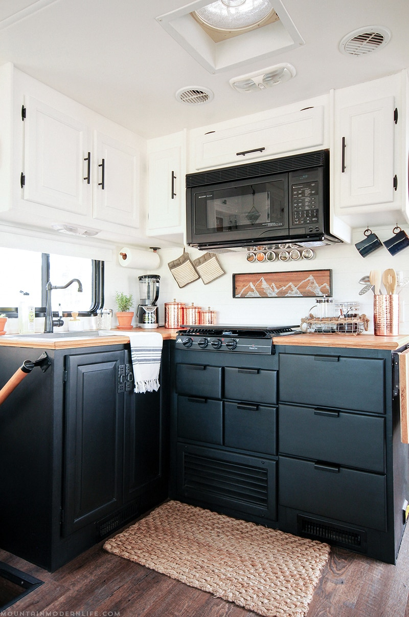 Renovated Black and White RV Kitchen | MountainModernLife.com