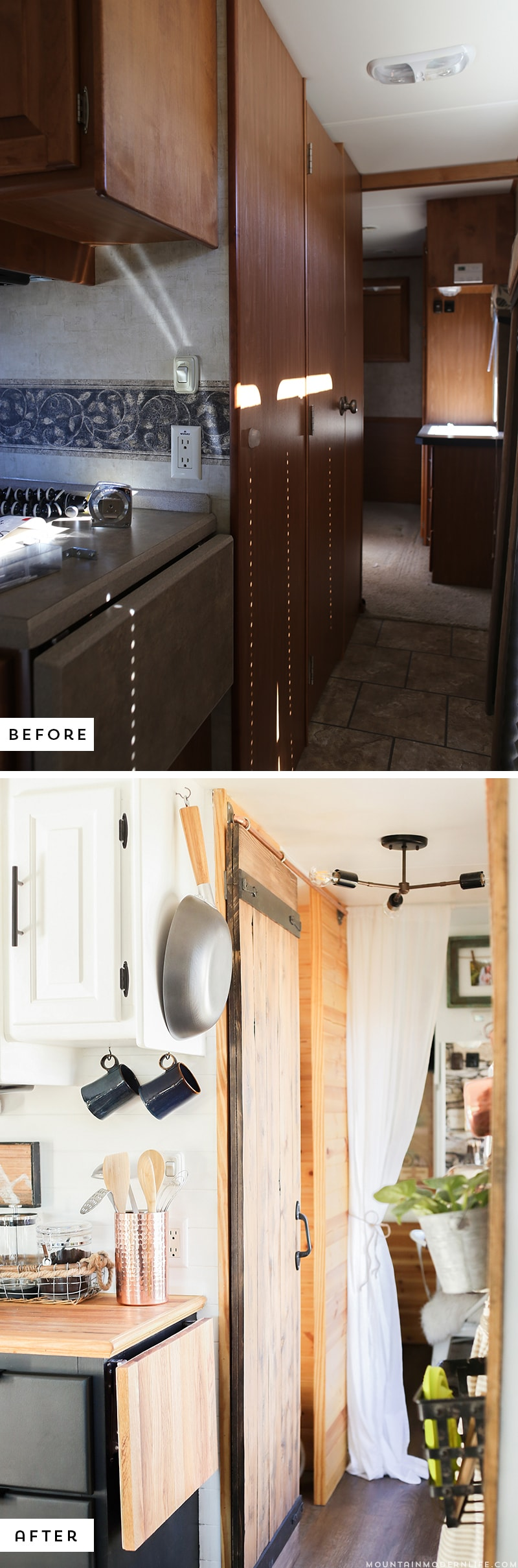 Could you live in less than 300 square feet? See how this outdated motorhome was completely transformed into a rustic modern RV! MountainModernLife.com
