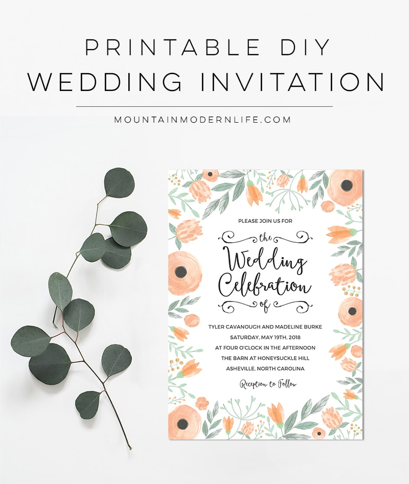 Planning a Spring, Summer, or vintage-inspired wedding? Save money by personalizing this Floral Peach DIY Wedding Invitation! MountainModernLife.com