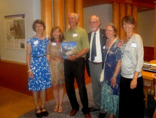 At the Denver Public Library, from left: Erika Walker, editor Jenna Browning, John Fielder, Bart Berger, Sally White, and Wendy Rex-Atzet.