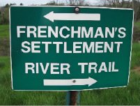 Sign for the Frenchman's Settlement and the River Trail at Sugar Hill in St. Paul, Virginia.