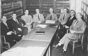 Early proponents of establishing Clinch Valley College soon formed a Local Advisory Board. Members in 1957 included (from left to right) Glenn Williams, Glenn Phillips, J.J. Kelley, Hagen Richmond, M.M. Long, Kenneth Asbury, W.J. Thompson, and Fred Greear. Not pictured is J.L. Camblos.