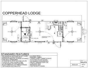 44' x 12' COPPERHEAD LODGE - Modular Log Home