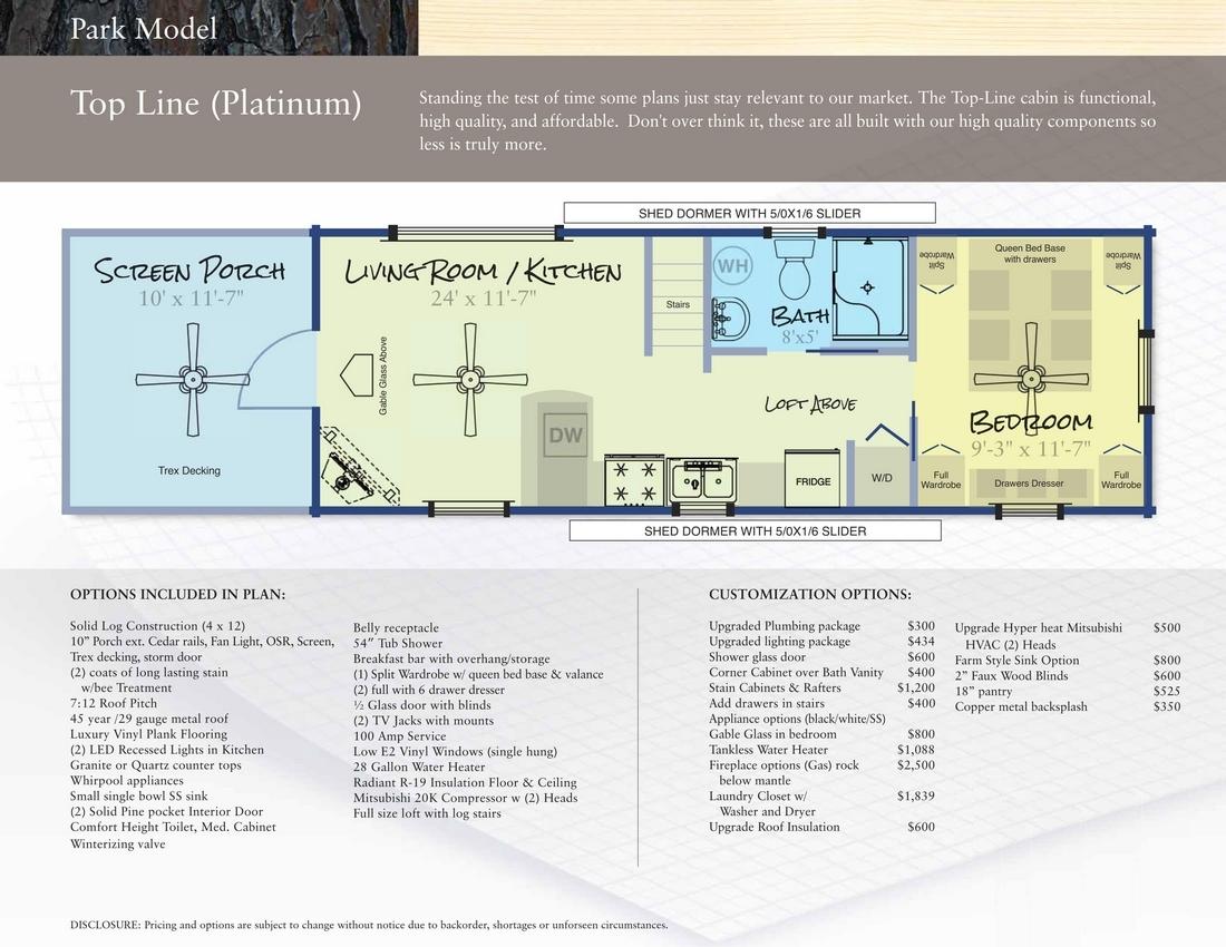 Modular Log Homes & RV Park Log Cabins Floor Plans NC