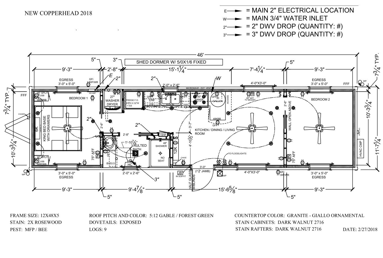 TOP-LINE (2BDR) 12 X 46 NEW 2bdr modular plan