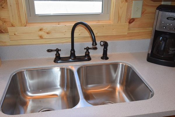 Stainless Steel Undermount Double Bowl sink with upgrade gooseneck faucet