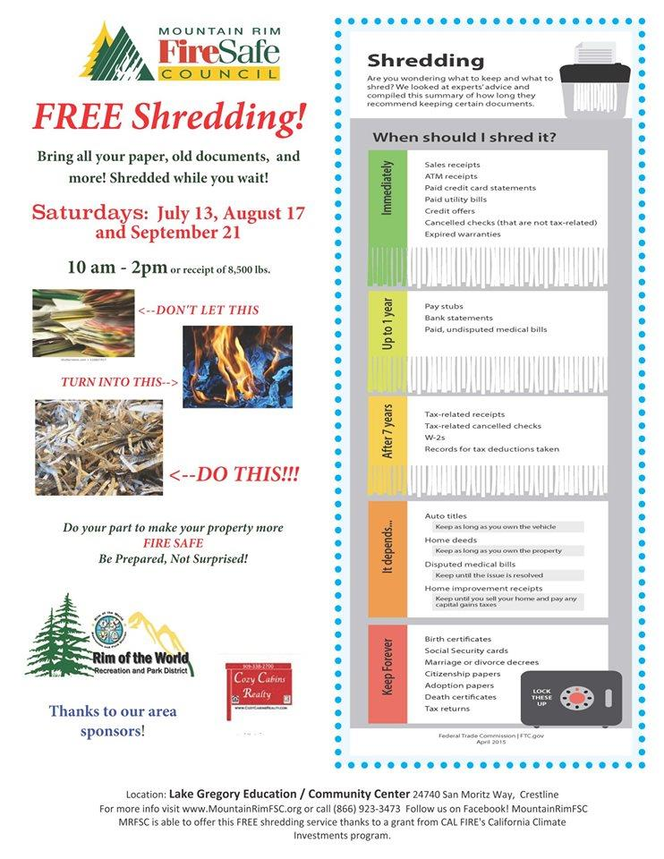 Mountain Rim Fire Safe Council Offers Free Paper Shredding – Live