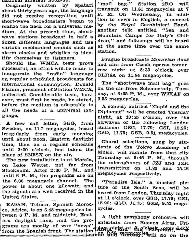 From NYT's Radio's Shortwaves, August 8, 1937