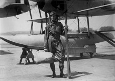 U.S. Navy Lt. Com. Richard E. Byrd in front of a Vought VE-7 Bluebird seaplane by George Grantham Bain