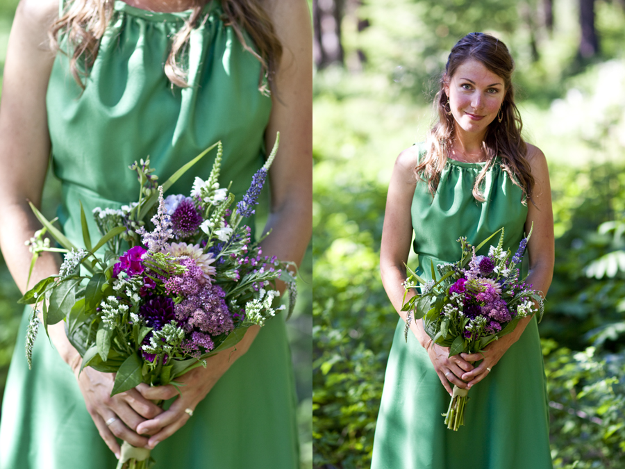 bridesmaid and bouquet