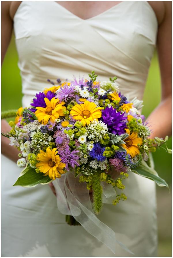 wildflower bouquet at 4H camp wedding
