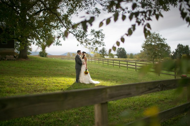 Bride and Groom at the Farm in Candler NC
