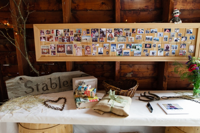 rustic guest book with photos of the bride and groom