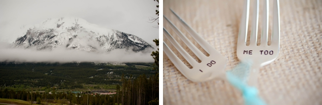 Canmore mountain scenery and stamped wedding forks