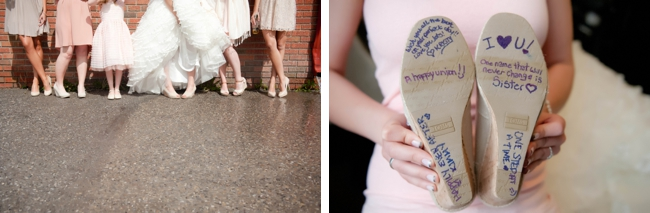 signed wedding shoes and pink bridemaids dresses